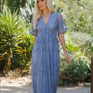 Blue Lace Maternity Mesh Overlay Maxi Dress